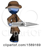Blue Detective Man Walking With Large Thermometer
