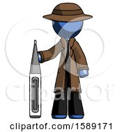Blue Detective Man Standing With Large Thermometer