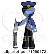 Blue Police Man Standing With Large Thermometer