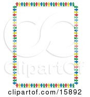 Stationery Border Of Colorful Paper Dolls Holding Hands Clipart Illustration