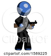 Blue Clergy Man Tommy Gun Gangster Shooting Pose