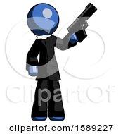 Blue Clergy Man Holding Handgun