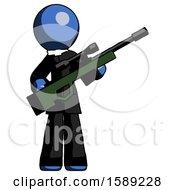 Blue Clergy Man Holding Sniper Rifle Gun