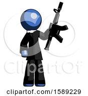 Blue Clergy Man Holding Automatic Gun