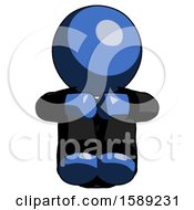 Blue Clergy Man Sitting With Head Down Facing Forward