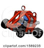 Blue Clergy Man Riding Sports Buggy Side Top Angle View