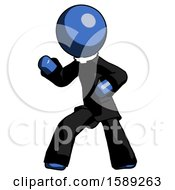 Blue Clergy Man Martial Arts Defense Pose Left