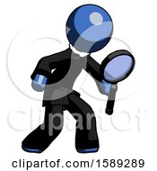 Blue Clergy Man Inspecting With Large Magnifying Glass Right
