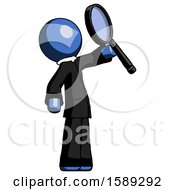 Blue Clergy Man Inspecting With Large Magnifying Glass Facing Up