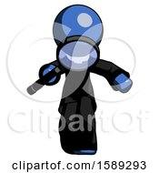 Blue Clergy Man Looking Down Through Magnifying Glass
