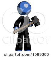 Blue Clergy Man With Sledgehammer Standing Ready To Work Or Defend