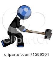 Blue Clergy Man Hitting With Sledgehammer Or Smashing Something