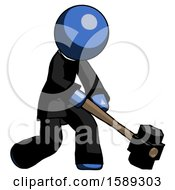 Blue Clergy Man Hitting With Sledgehammer Or Smashing Something At Angle