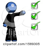Blue Clergy Man Standing By List Of Checkmarks