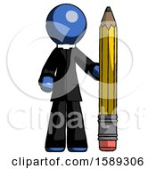 Blue Clergy Man With Large Pencil Standing Ready To Write