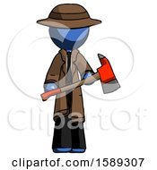 Blue Detective Man Holding Red Fire Fighters Ax