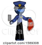 Blue Police Man Holding Large Steak With Butcher Knife