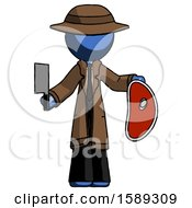 Blue Detective Man Holding Large Steak With Butcher Knife