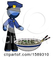Blue Police Man And Noodle Bowl Giant Soup Restaraunt Concept