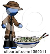 Blue Detective Man And Noodle Bowl Giant Soup Restaraunt Concept