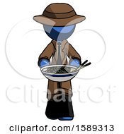 Blue Detective Man Serving Or Presenting Noodles