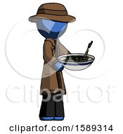 Blue Detective Man Holding Noodles Offering To Viewer