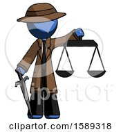 Blue Detective Man Justice Concept With Scales And Sword Justicia Derived