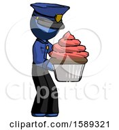 Blue Police Man Holding Large Cupcake Ready To Eat Or Serve