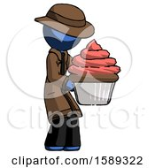 Blue Detective Man Holding Large Cupcake Ready To Eat Or Serve