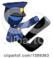 Blue Police Man Flying Ninja Kick Right