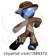 Blue Detective Man Karate Defense Pose Left