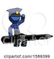 Blue Police Man Riding A Pen Like A Giant Rocket
