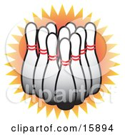 Lineup Of White Bowling Pins Clipart Illustration
