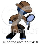 Blue Detective Man Inspecting With Large Magnifying Glass Right