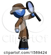 Blue Detective Man Inspecting With Large Magnifying Glass Facing Up