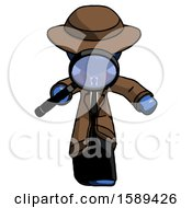 Blue Detective Man Looking Down Through Magnifying Glass