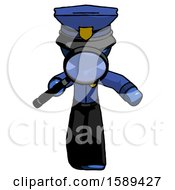 Blue Police Man Looking Down Through Magnifying Glass