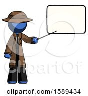 Blue Detective Man Giving Presentation In Front Of Dry Erase Board