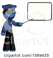 Blue Police Man Giving Presentation In Front Of Dry Erase Board