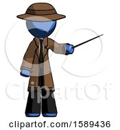 Blue Detective Man Teacher Or Conductor With Stick Or Baton Directing