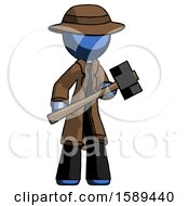 Blue Detective Man With Sledgehammer Standing Ready To Work Or Defend