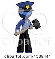 Blue Police Man With Sledgehammer Standing Ready To Work Or Defend