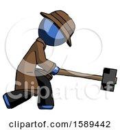 Blue Detective Man Hitting With Sledgehammer Or Smashing Something
