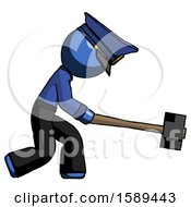 Blue Police Man Hitting With Sledgehammer Or Smashing Something