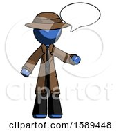 Blue Detective Man With Word Bubble Talking Chat Icon