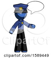 Blue Police Man With Word Bubble Talking Chat Icon
