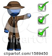 Blue Detective Man Standing By List Of Checkmarks