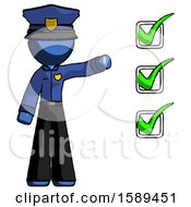 Blue Police Man Standing By List Of Checkmarks