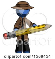 Blue Detective Man Writer Or Blogger Holding Large Pencil