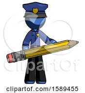 Blue Police Man Writer Or Blogger Holding Large Pencil